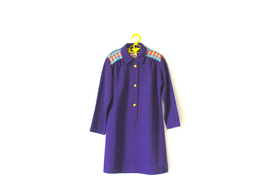 Vintage Purple 1970's Tick a Tee Dress with Psychedelic Embroidery 6-7 Years