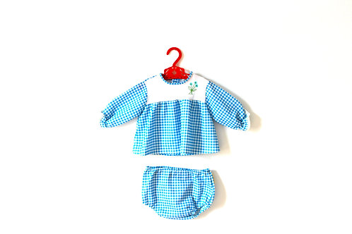 Vintage Blue Gingham Checked Outfit 12 Months