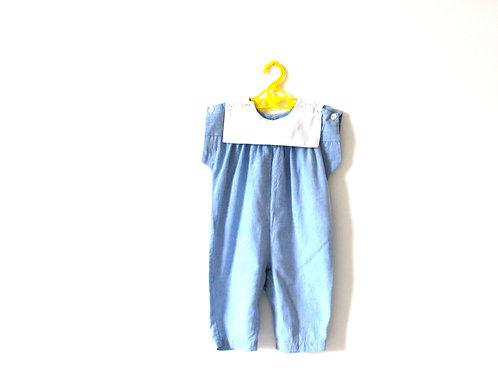 Vintage French Spring Blue Romper 12 Months
