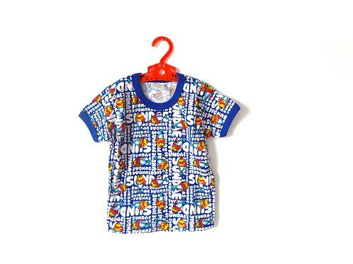 Vintage Blue Sundae Pattern Summer T-shirt 2-3 Yrs