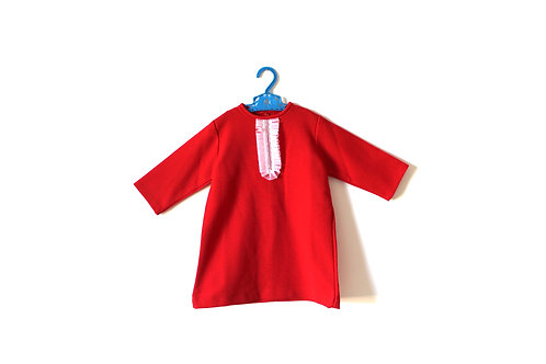Vintage Red 1970's Ruffle Shift Dress 4-5 Years