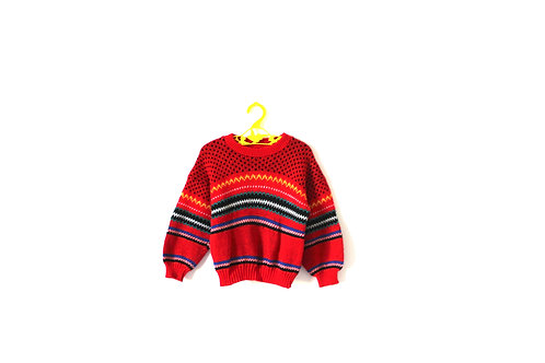 Vintage 70's Red Patterned Jumper 2-3 Years