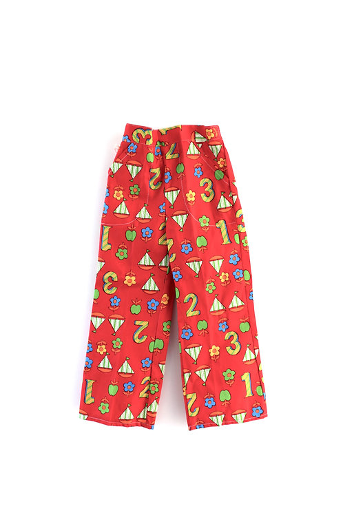 Vintage 1960's 2-3 Patterned Children's Trousers Boats Numbers Red