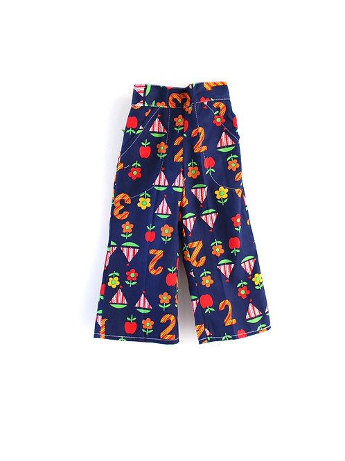 Vintage 1960's 3-4 Years Patterned Children's Trousers Boats Numbers Dar