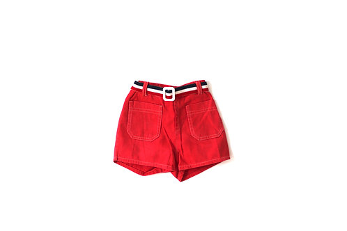 Vintage 1960's Red Retro Shorts with Belt 4 Years