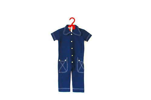 Vintage French 1960's Blue Denim Style Romper 12 Months