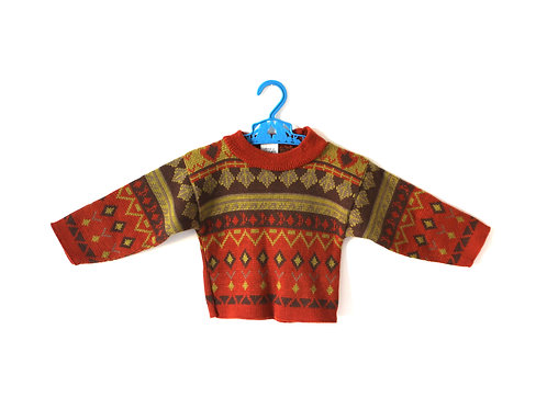 Vintage 1970's Patterned Jumper 2 Years
