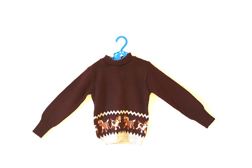 Vintage Brown 1970's Horse Jumper 2-3 Years