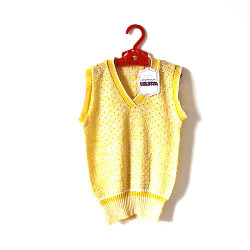Vintage 1970's Yellow Knitted Top 5-6 Years