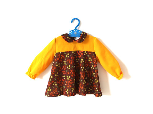 Vintage Girls Yellow Floral 60's Dress 12 Months