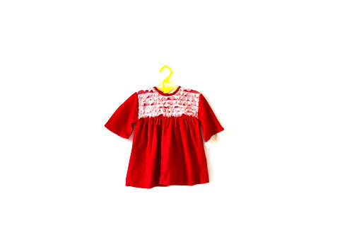 Vintage Red Lace Winter Dress 9-12 Months
