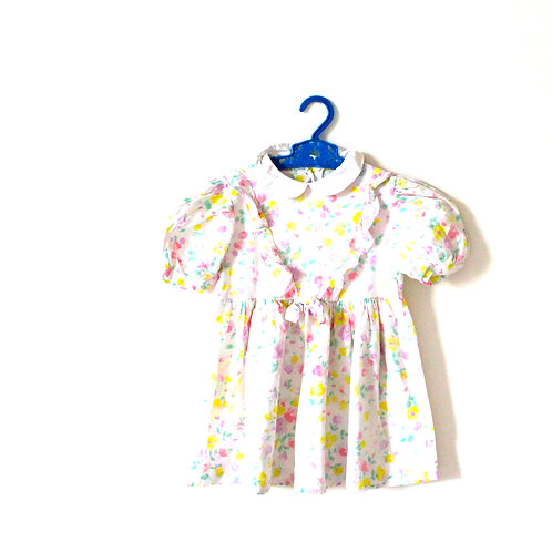 Vintage French Pastel Pink Spring Floral Dress 4 Years