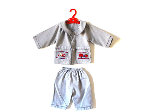 Vintage Boys Pinstripe Fire Engine Outfit 1-2 Year