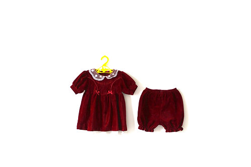 Vintage Christmas Velvet Bloomers and Blouse Outfit 9 Months