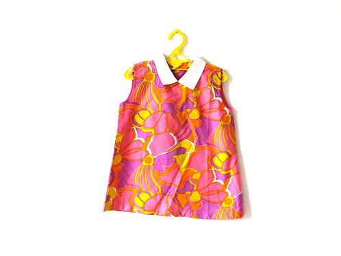 Vintage Groovy Spring Pastel Floral 1960's Dress 3-4 Years