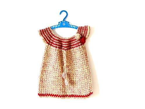 Vintage Knitted 1970's Dress Red Flower 2 Years