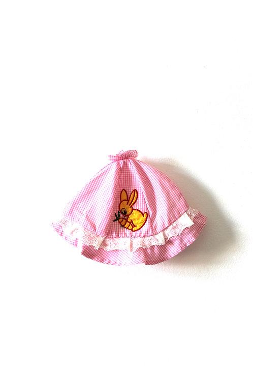 Vintage 1960's Rabbit Pink Girls Childrens Baby Hat 3-6 Months