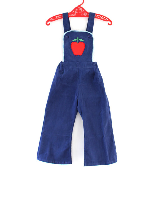 Vintage 1960's Blue with Red Apple Dungarees Cute Unisex Girls Boys