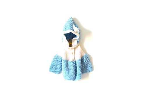 Vintage French Blue Knitted Cardigan 6 Months