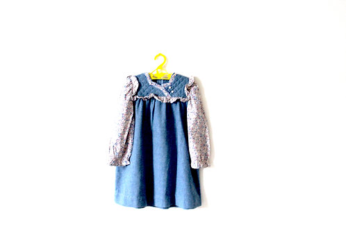 Vintage French Spring Blue Pink Floral Dress 4 Years