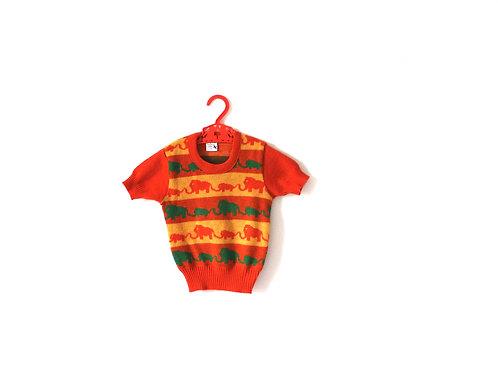 Vintage Orange 1960's Children's Elephant Knitted Animal Top 3-4 Years