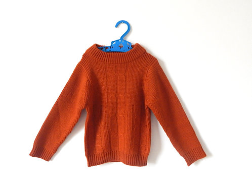 Vintage 60's Rust Orange Cable Knit Jumper 4 Years