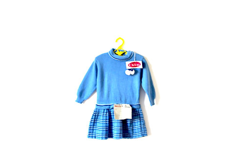 Vintage Blue Pompom 70's Knitted Winter Dress 3-4 Years