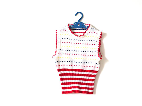 Vintage 1960's Mod Knitted Vest Top Dotty 6 Years
