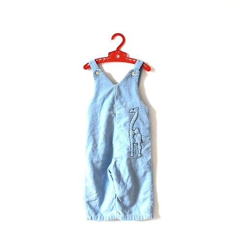 Vintage Cord 1960's Blue Camel Dungarees 18 Months