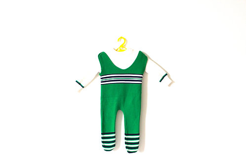 Vintage 1960's Green Knitted Romper 9 Months