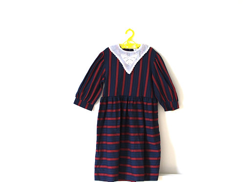 Vintage Striped Butterfly Collar Dress Age 6-7