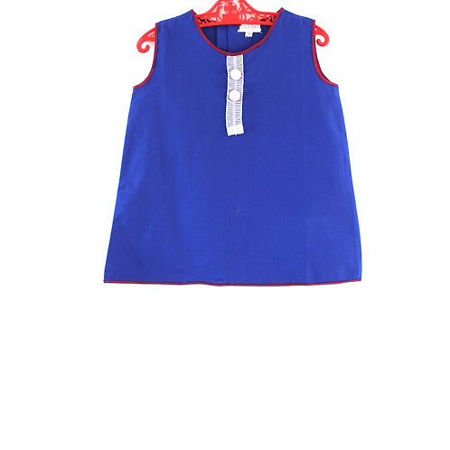 Vintage 1960's 2-3 Yrs Blue Shift Girls Dress Mod with Pink Button Spring Summer