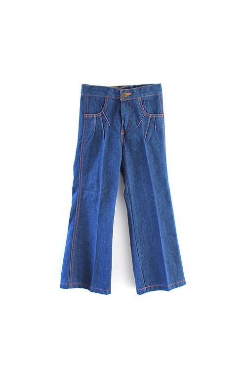Vintage 1970's Unisex 6 Years Denim Jeans Sunburst Blue