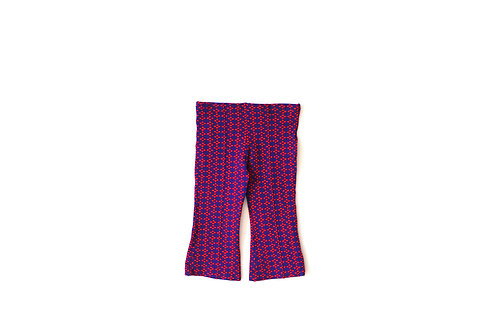 Vintage 1970's Patterned Red and Blue Trousers 4 Years