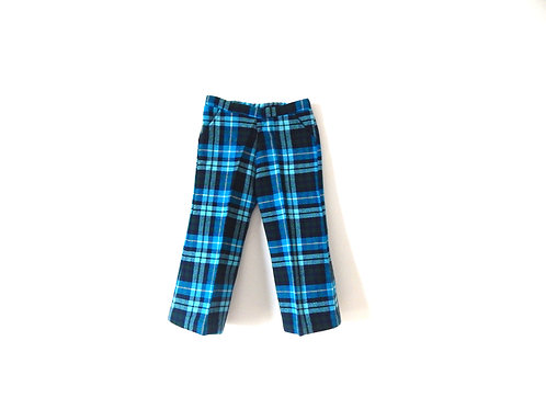 Vintage Blue Checked Trousers 1970's 3 Years