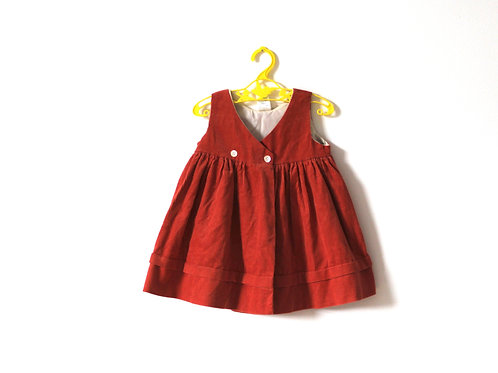 Vintage Rust Needlecord Dress with Pearlised Buttons 6 Months