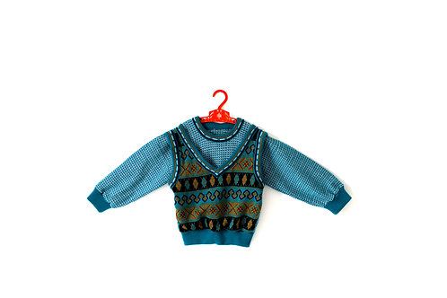 Vintage Green Patterned 1970's Jumper 4 Years