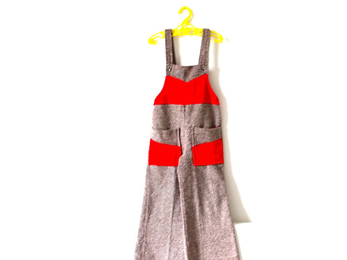 Vintage Brown Knit French Dungarees with Red Detail 4-5 Years