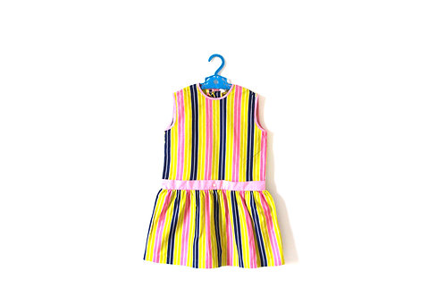 Vintage 1960's Spring Striped Dress Pink and Green 4-5 Years