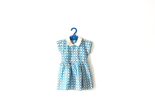 Vintage 1950's Blue Rose Summer Collar Dress  2-3 Years