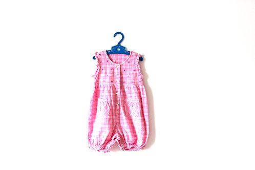 Vintage Pink Checked Summer Floral Romper 12 Month