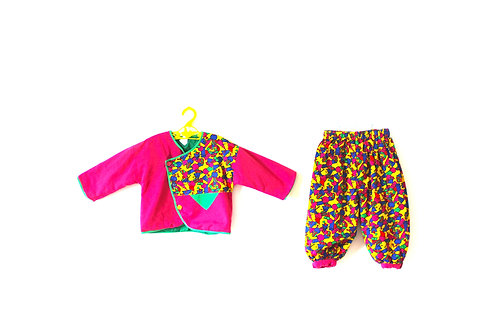 Vintage Bold Patterned Winter Two Piece Outfit 18-24 Months