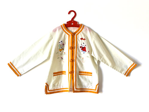 Vintage 1970's Yellow Oriental Top Age 6