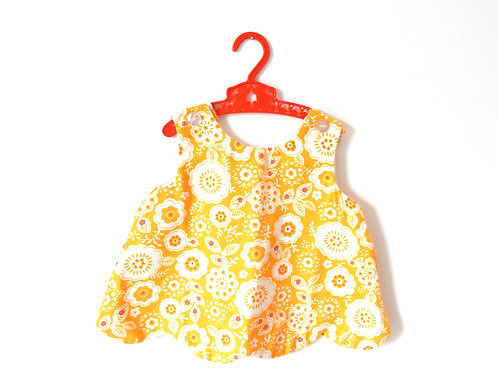 Vintage Yellow Mod Floral Tunic Top/Dress 2 Years