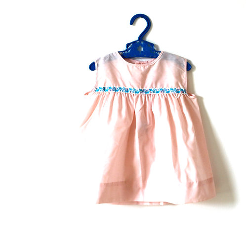 Vintage Pink and Blue Ribbon Dress 12 Months