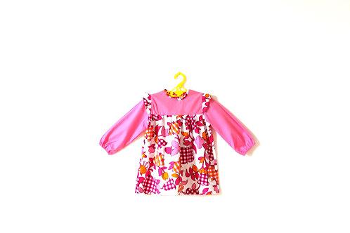 Vintage Pink Flower Gingham Dress 1970's Age 4