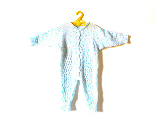 Vintage Blue Speckled Knitted Rompersuit 12-18 Months