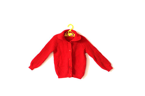 Vintage Waffle Bright Red 1950's Collar Cardigan 3-4 Years