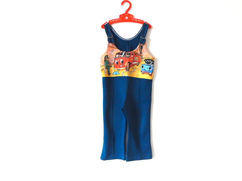 Vintage Blue Dungarees with illustration 3 Years