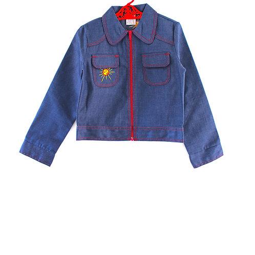 Vintage 1970's 5-6 Years Sun Children's Denim Jacket Patterned